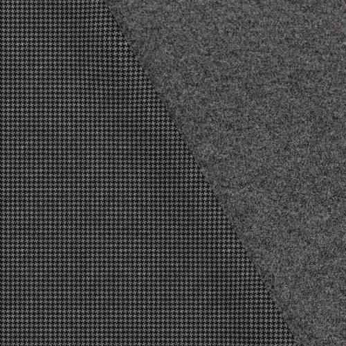 Tissu lainage caban motif petit pied de poule noir et gris réversible gris