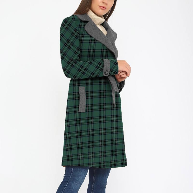 Tissu lainage caban motif tartan vert et noir réversible gris
