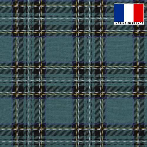 Tissu lainage caban motif tartan bleu canard réversible gris