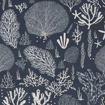 Tissu occultant bleu turquin motif corail