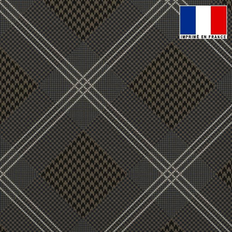 Tissu lainage caban motif pied de poule marron réversible gris