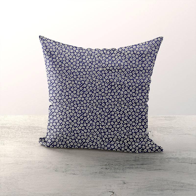 Coton bleu marine motif petite fleur beige