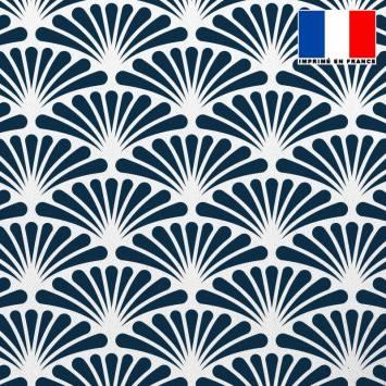 Tissu occultant écru motif éventail pétale bleu turquin