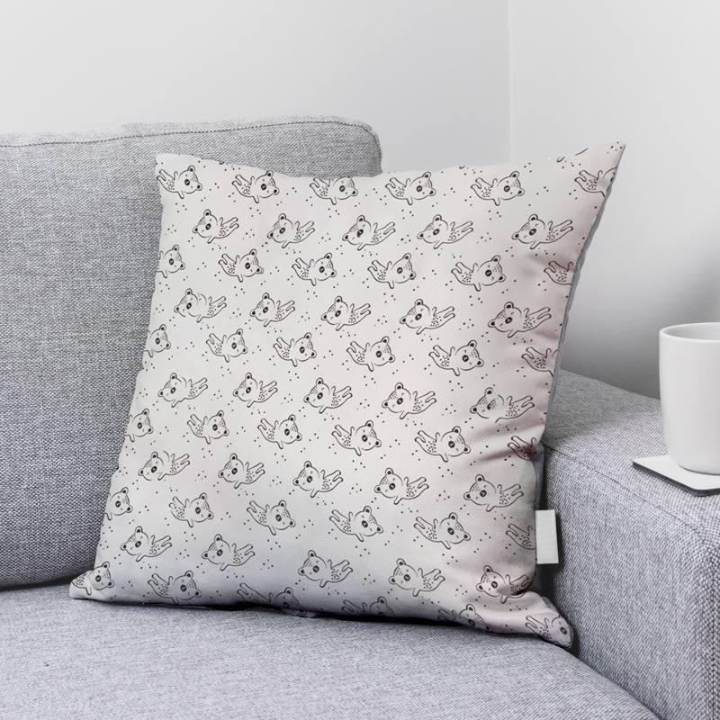 Coton blanc motif ourson