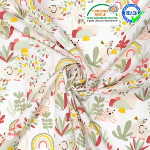 Coton blanc motif éléphant beige et arc-en-ciel