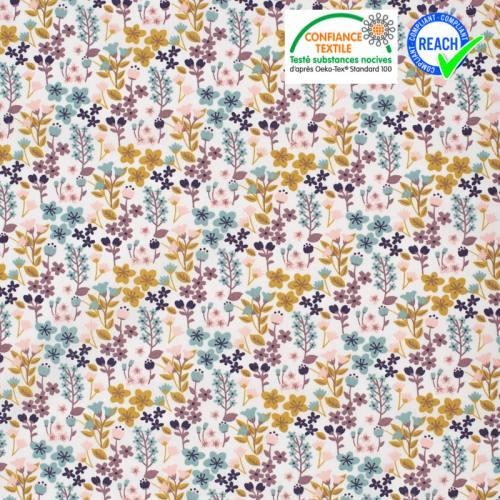 Coton blanc motif Milly fleur vert d'eau et rose pâle