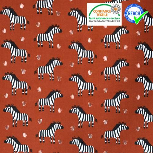 Coton brun cuivre motif zèbre zebro