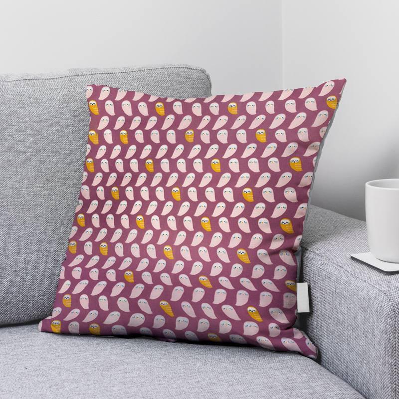Coton mulberry motif chouette rose mahol