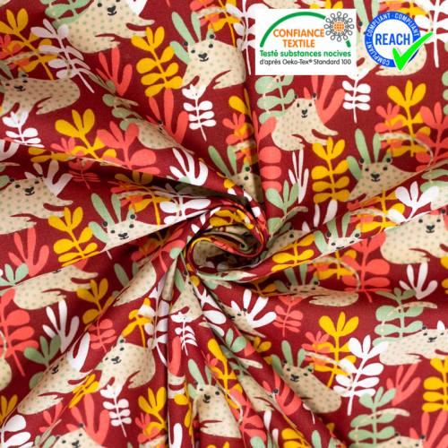Coton rouge carmin motif feuilles curry tanza
