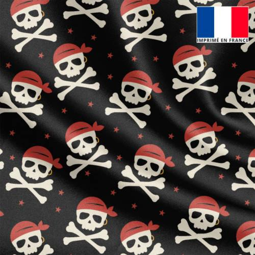 Tissu satiné noir imprimé pirate