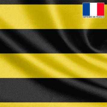 Tissu satiné imprimé rayé jaune et noir