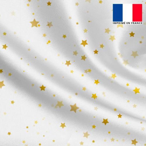 Satin écru imprimé étoiles dorées