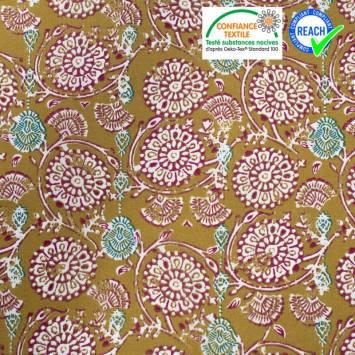 Coton moutarde motif bordeaux jivana