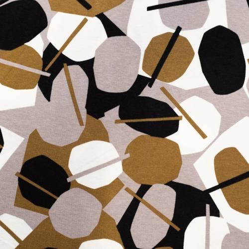 Jersey viscose noir motif rond et géométries taupe et marron