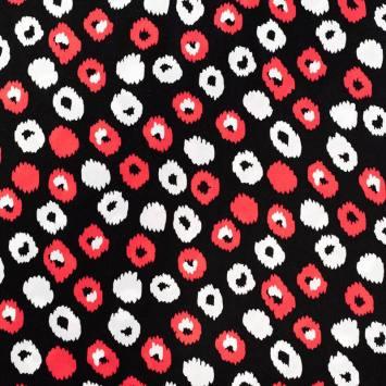 Tissu viscose noir motif rond dessin léopard rose et blanc