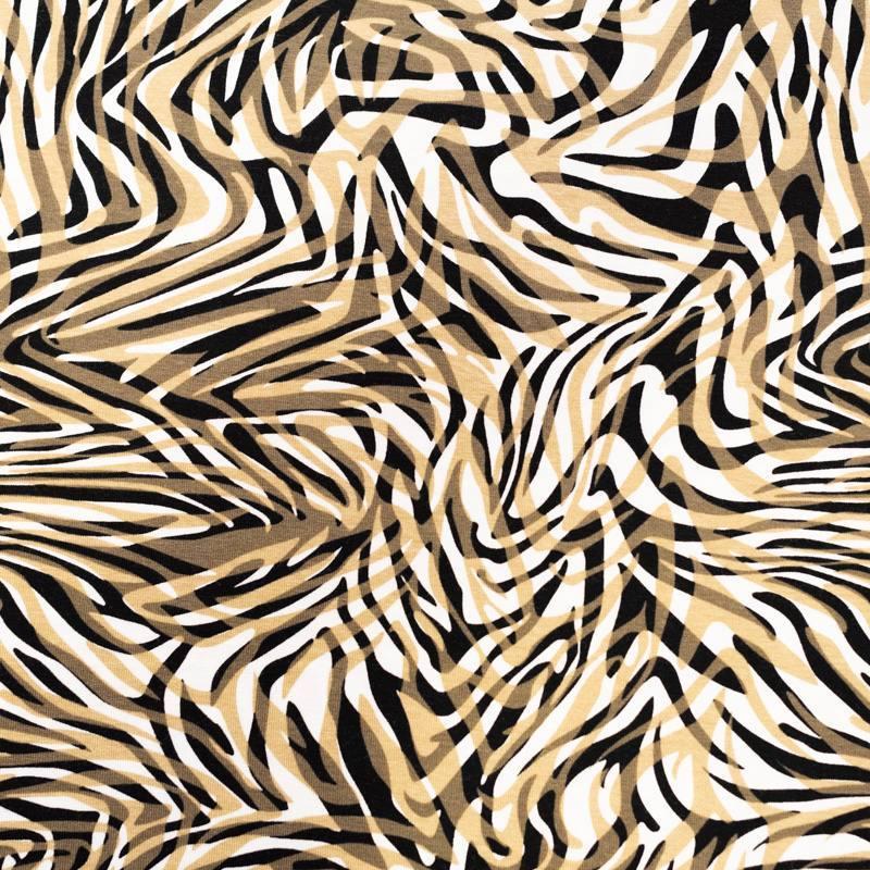 Jersey viscose écru motif zébrures noires et beiges