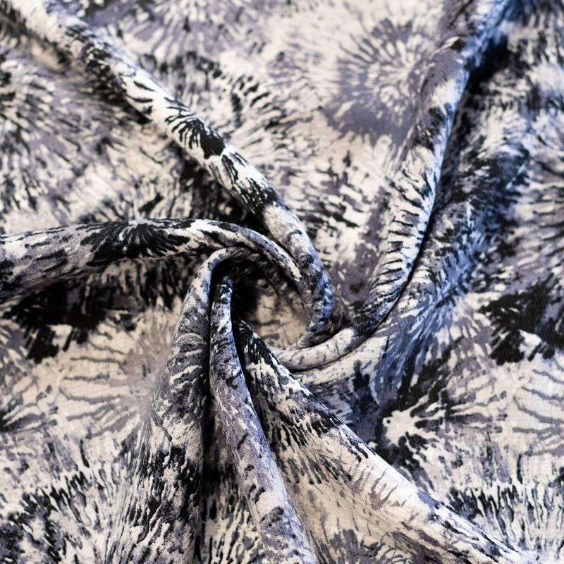 Crêpe de viscose écru imprimé gris crincle