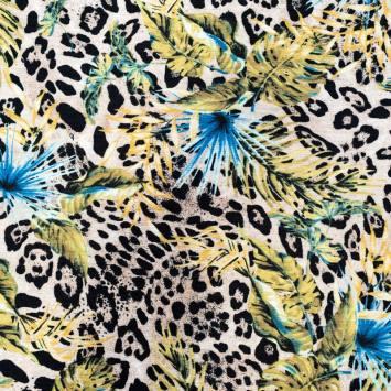 Crêpe de viscose beige imprimé léopard et feuilles jaunes et bleues