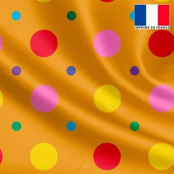 Tissu satiné ocre imprimé pois rouge et jaune