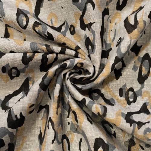 Tissu coton lin gris clair motif formes rondes noires et grises
