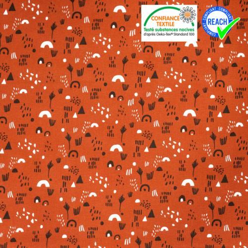 Coton orangé motif indien marron