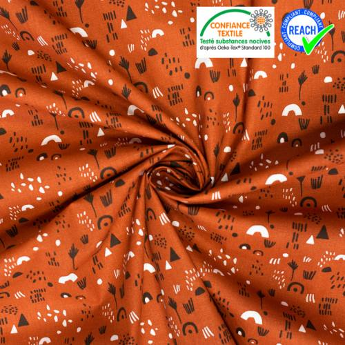 Coton blanc motif indien marron