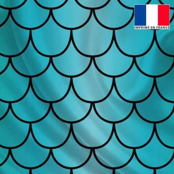 Tissu satiné imprimé écailles de sirène bleues nuances de vert