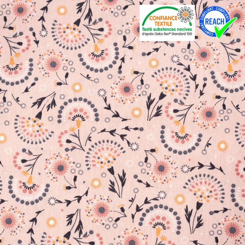 Popeline de coton rose imprimé fleuri