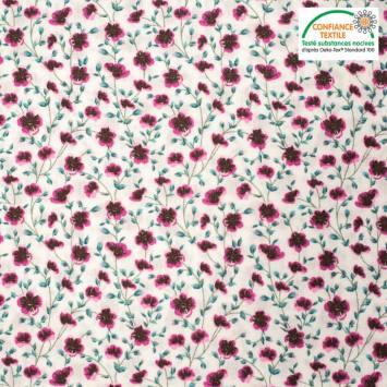 Popeline de coton écru imprimé fleurs champêtres fuschia