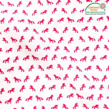 Popeline de coton écrue motif licorne rose
