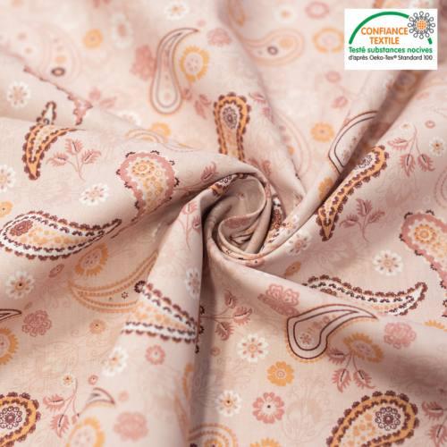 Popeline de coton rose pêche imprimé cachemire