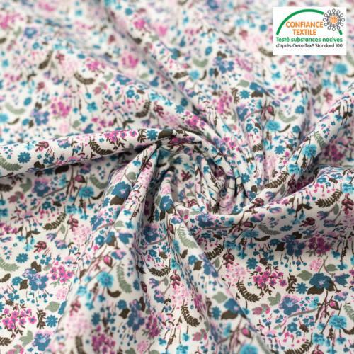 Popeline de coton écru imprimé flower bleu et rose