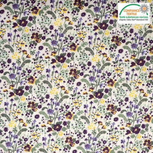 Popeline de coton écru imprimé flower jaune et violet