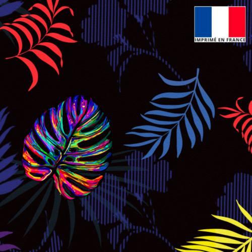 Velours noir motif palme multicolore et feuille bleue rouge jaune