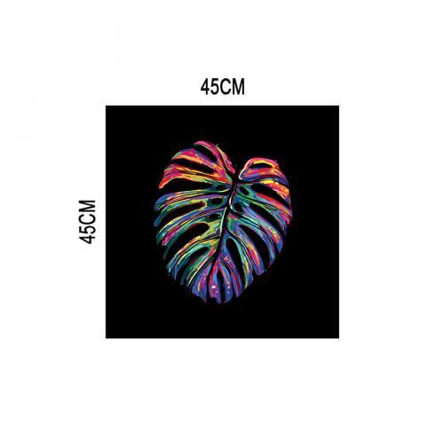 Coupon velours ras noir motif feuille pop mutlicolore 45x45cm