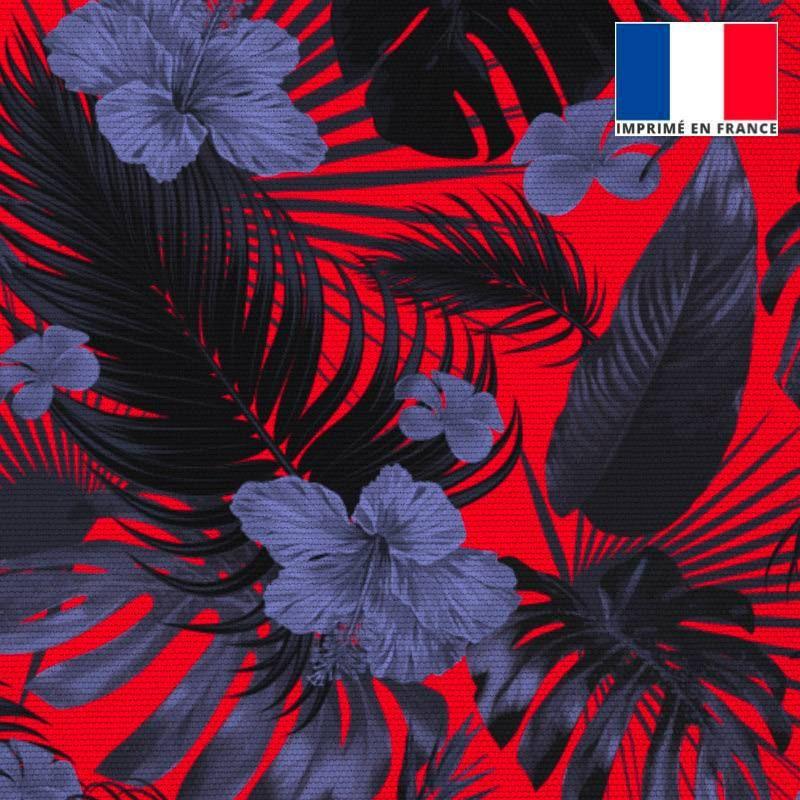 Toile canvas rouge imprimé fleur d'hibiscus bleue
