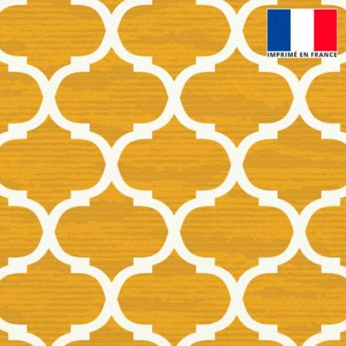 Velours jaune imprimé design contemporain écru