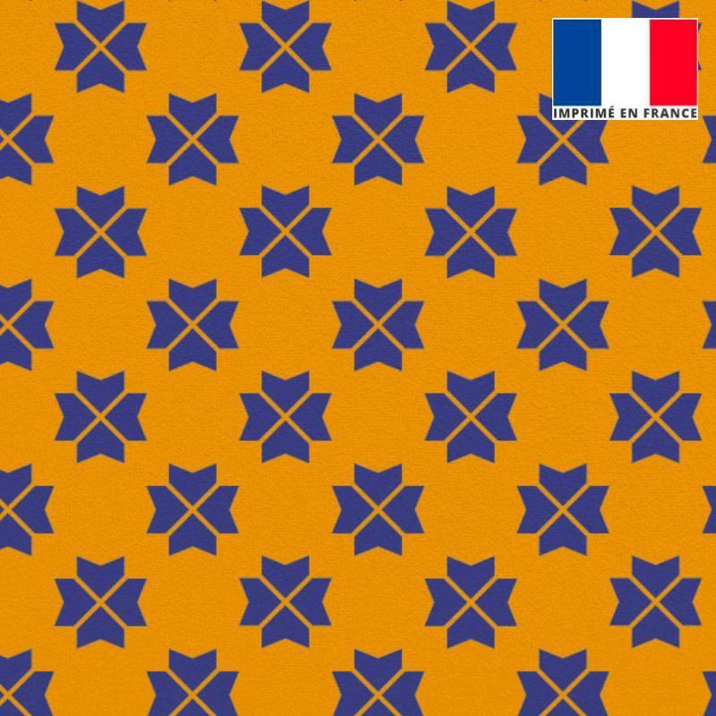 Velours ras jaune imprimé trèfle à quatre feuilles géométrique bleu