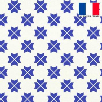 Velours ras écru imprimé trèfle à quatre feuilles géométrique bleu