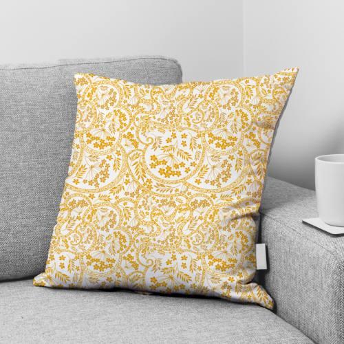 Velours ras écru imprimé fresque fleurie jaune