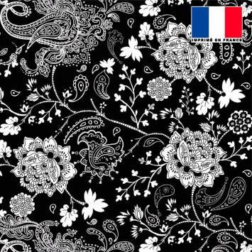 Tissu microfibre noir imprimé cachemire fleuri écru