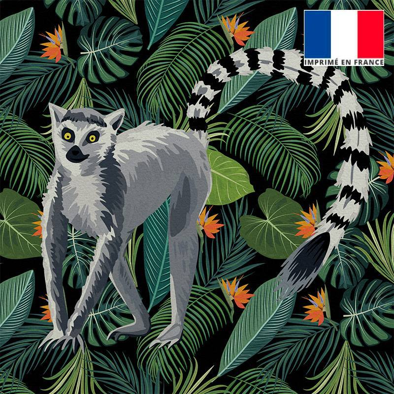 Coupon velours ras noir motif jungle et lémurien 45X45cm