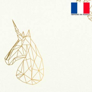 Velours ras écru motif licorne géométrique dégradé or