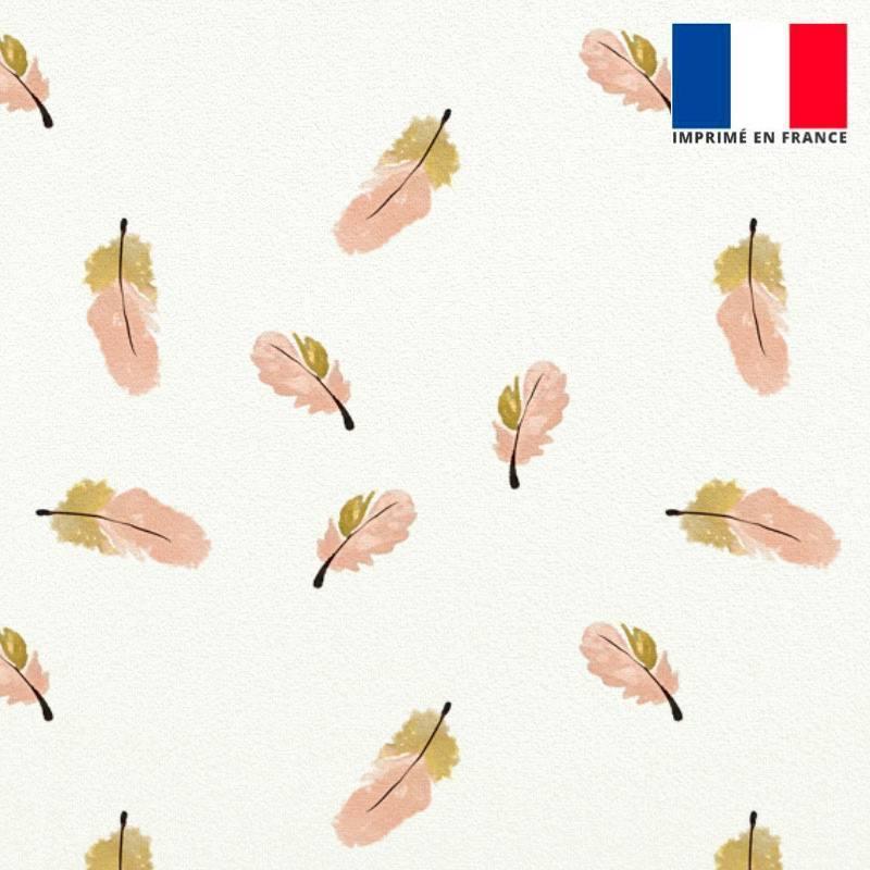 Velours ras écru motif plume rose et beige