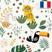 Velours ras écru imprimé animaux de la jungle
