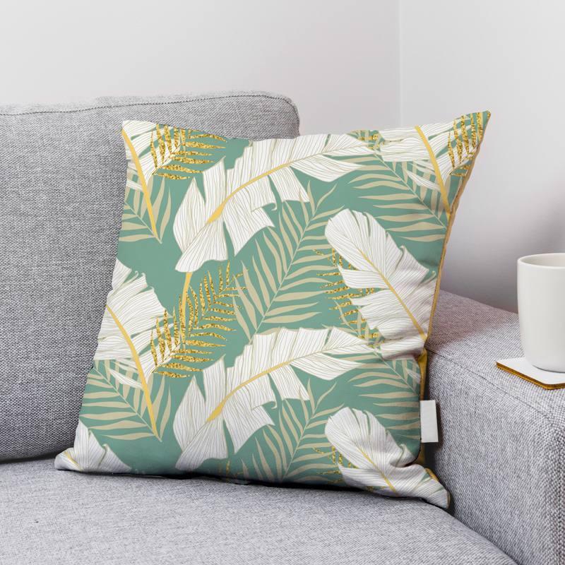 Velours ras vert d'eau motif feuille de palmier écrue et dorée