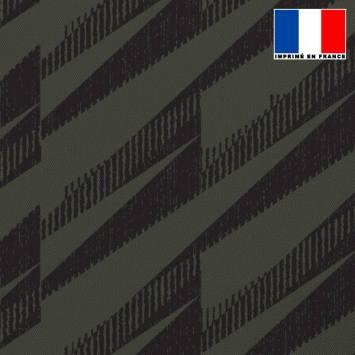 Tissu occultant vert militaire motif hachures noires