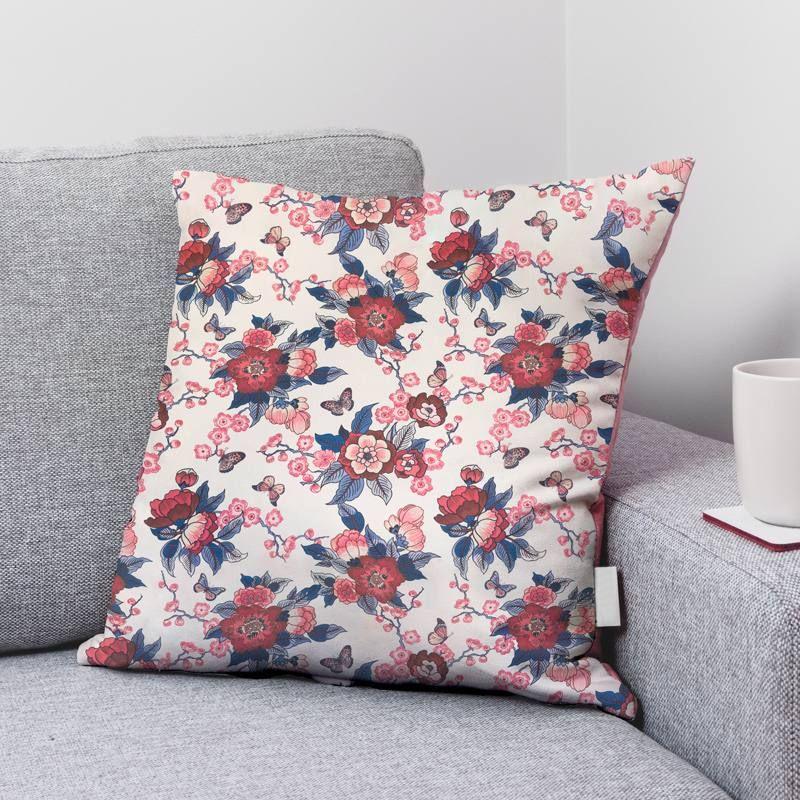 Coton bio écru motif fleur bordeaux prestbury