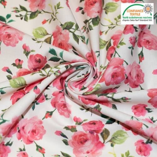 Coton écru motif rosiers roses