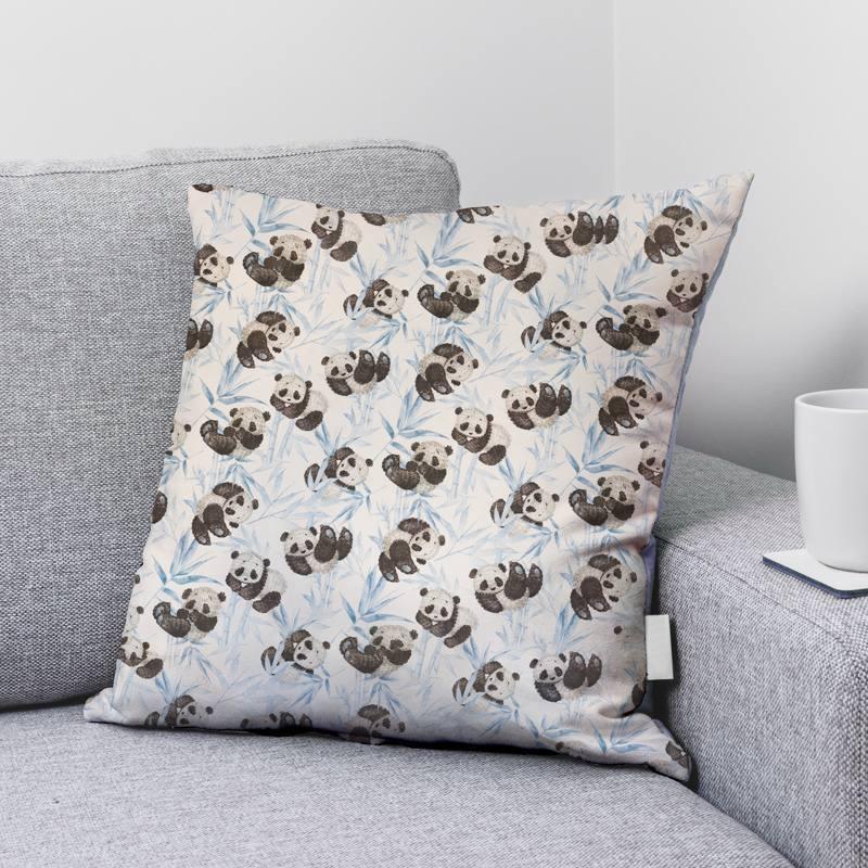 Coton écru motif panda et feuilles bleues
